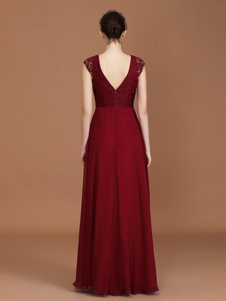 A-Line/Princess Lace Short Sleeves Floor-Length Chiffon V-neck Bridesmaid Dresses