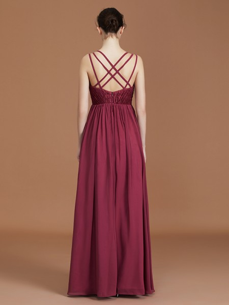 A-Line/Princess Lace Sleeveless Floor-Length Chiffon Sweetheart Bridesmaid Dresses