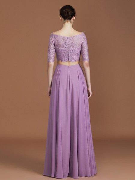 A-Line/Princess Lace 1/2 Sleeves Floor-Length Chiffon Off-the-Shoulder Bridesmaid Dresses