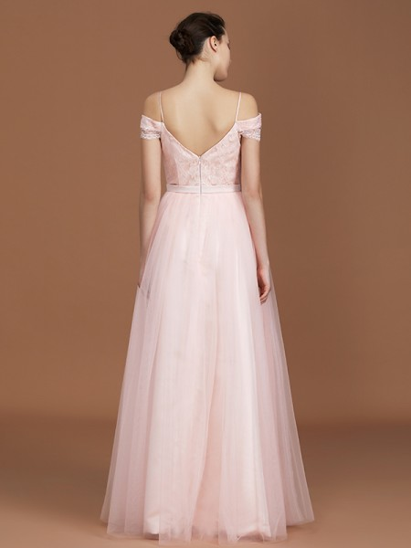 A-Line/Princess Lace Short Sleeves Floor-Length Tulle Sweetheart Bridesmaid Dresses