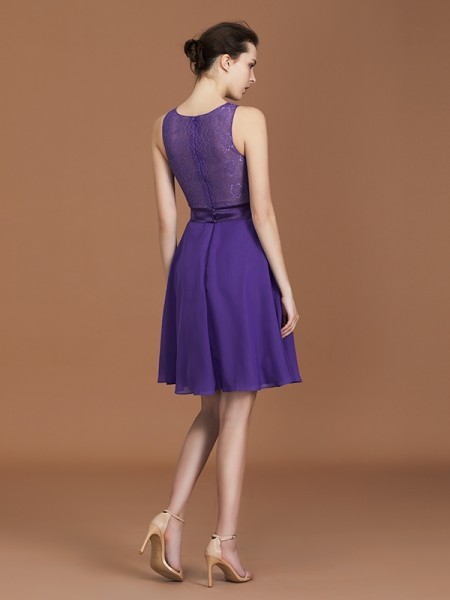 A-Line/Princess Lace Sleeveless Floor-Length Chiffon Bateau Bridesmaid Dresses