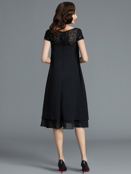 A-Line/Princess Knee-Length Scoop Sleeveless Black Chiffon Mother of the Bride Dresses