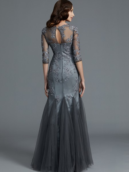 Sheath/Column Floor-Length Scoop 1/2 Sleeves Grey Tulle Mother of the Bride Dresses