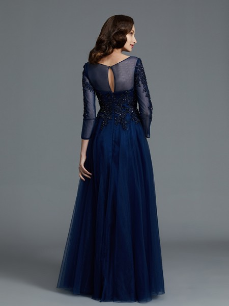 A-Line/Princess Floor-Length Scoop Long Sleeves Dark Navy Tulle Mother of the Bride Dresses