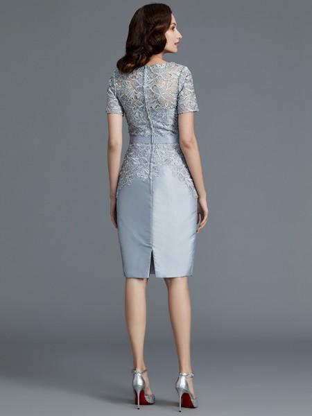 Sheath/Column Knee-Length Scoop Short Sleeves Silver Satin Mother of the Bride Dresses