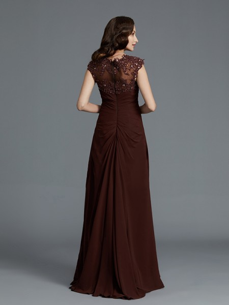 A-Line/Princess Floor-Length Sweetheart Sleeveless Chocolate Chiffon Mother of the Bride Dresses