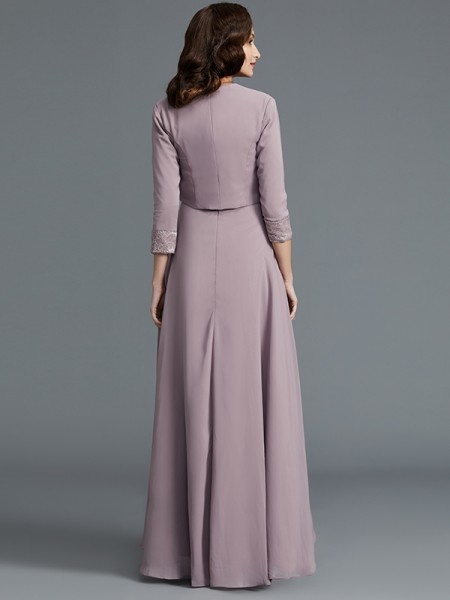 A-Line/Princess Asymmetrical Scoop 1/2 Sleeves Lilac Chiffon Mother of the Bride Dresses