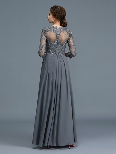 A-Line/Princess Floor-Length V-neck 3/4 Sleeves Grey Chiffon Mother of the Bride Dresses