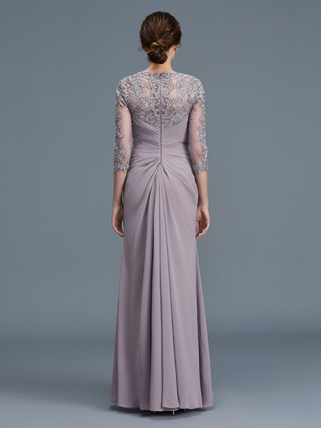 Sheath/Column Floor-Length Sweetheart 3/4 Sleeves Lilac Chiffon Mother of the Bride Dresses