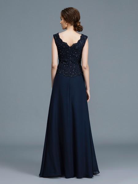 A-Line/Princess Floor-Length V-neck Sleeveless Dark Navy Chiffon Mother of the Bride Dresses