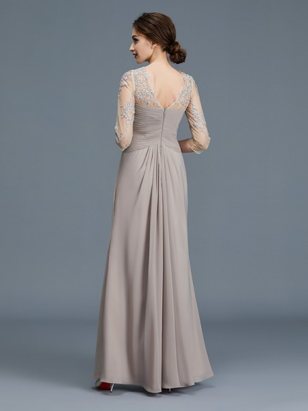 A-Line/Princess Floor-Length Sheer Neck 3/4 Sleeves Silver Chiffon Mother of the Bride Dresses