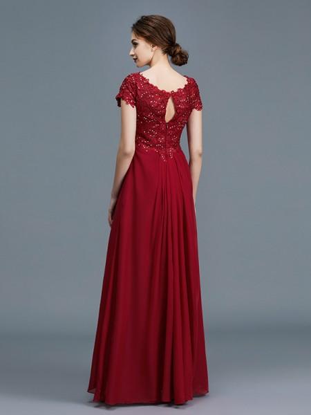 A-Line/Princess Floor-Length V-neck Short Sleeves Burgundy Chiffon Mother of the Bride Dresses