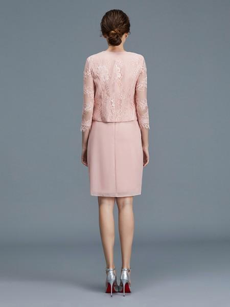 Sheath/Column Knee-Length Sheer Neck Sleeveless Pink Chiffon Mother of the Bride Dresses