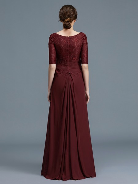 A-Line/Princess Floor-Length V-neck 1/2 Sleeves Burgundy Chiffon Mother of the Bride Dresses