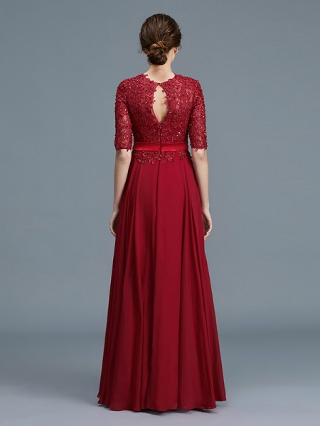 A-Line/Princess Floor-Length Scoop 1/2 Sleeves Burgundy Chiffon Mother of the Bride Dresses