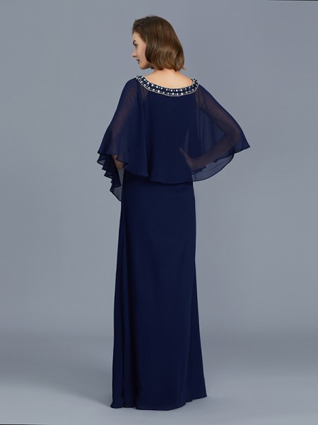 Sheath/Column Chiffon Scoop Floor-Length Beading Long Sleeves Mother of the Bride Dresses