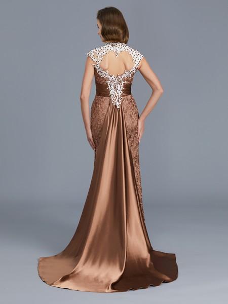 Trumpet/Mermaid Lace Scoop Floor-Length Beading Sleeveless Mother of the Bride Dresses