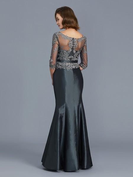 Trumpet/Mermaid Taffeta Scoop Floor-Length Applique 3/4 Sleeves Mother of the Bride Dresses