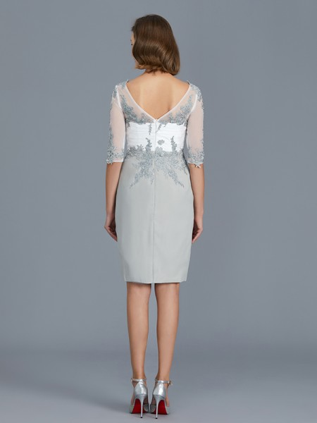 Sheath/Column Chiffon V-neck Knee-Length Ruffles 1/2 Sleeves Mother of the Bride Dresses