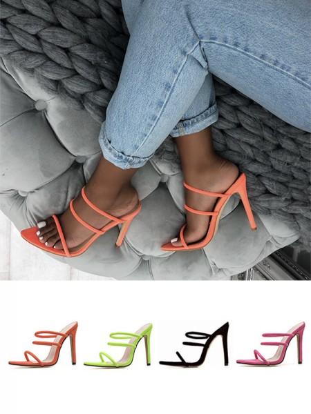 Ladies Peep Toe Stiletto Heel Microfiber Sandals