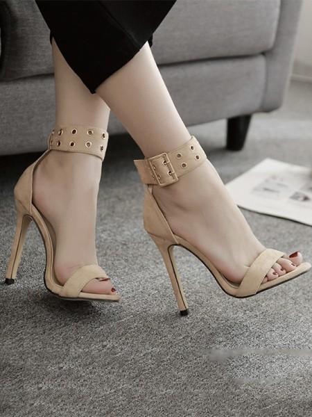 Ladies Matte Stiletto Heel Peep Toe With Buckle Sandals