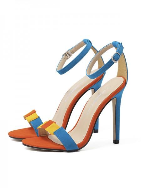 Ladies Suede Stiletto Heel Peep Toe With Buckle Sandals