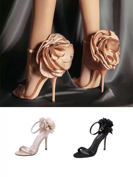 Ladies PU With Flower Peep Toe Stiletto Heel Sandals