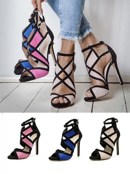 Ladies Peep Toe Suede Stiletto Heel With Buckle Sandals