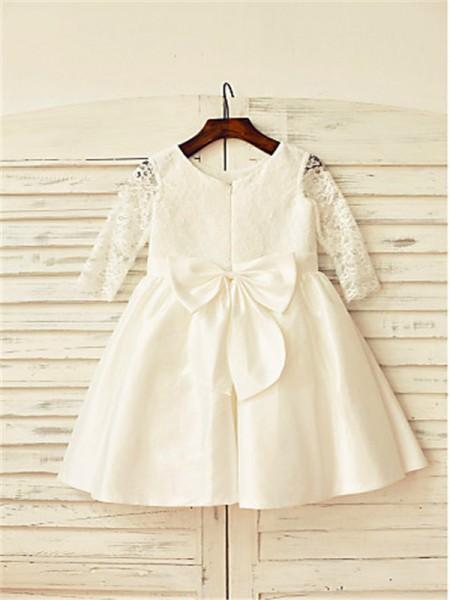 A-line/Princess Long Sleeves Satin Tea-Length Lace Jewel Flower Girl Dresses