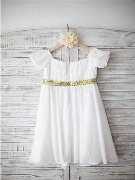 A-line/Princess Short Sleeves Chiffon Tea-Length Beading Bateau Flower Girl Dresses