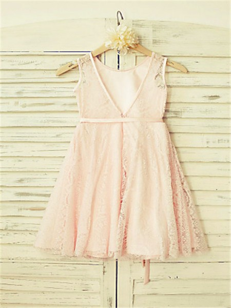A-Line/Princess Tea-Length Sash/Ribbon/Belt Scoop Sleeveless Lace Flower Girl Dress
