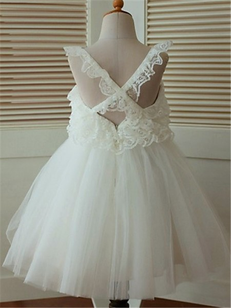 A-line/Princess Sleeveless Organza Tea-Length Ruffles Straps Flower Girl Dresses