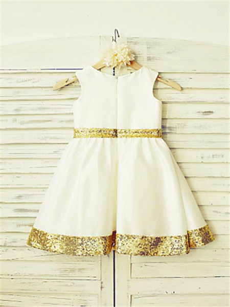 A-Line/Princess Tea-Length Sequin Scoop Sleeveless Satin Flower Girl Dress