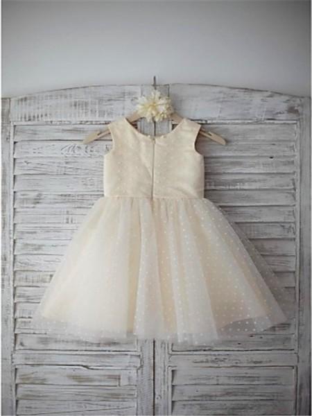 A-Line/Princess Tea-Length Hand-Made Flower Scoop Sleeveless Tulle Flower Girl Dress