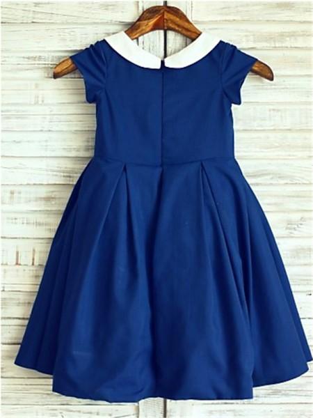A-line/Princess Short Sleeves Chiffon Tea-Length  Scoop Flower Girl Dresses