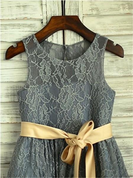 A-line/Princess Sleeveless Lace Tea-Length Sash/Ribbon/Belt Scoop Flower Girl Dresses