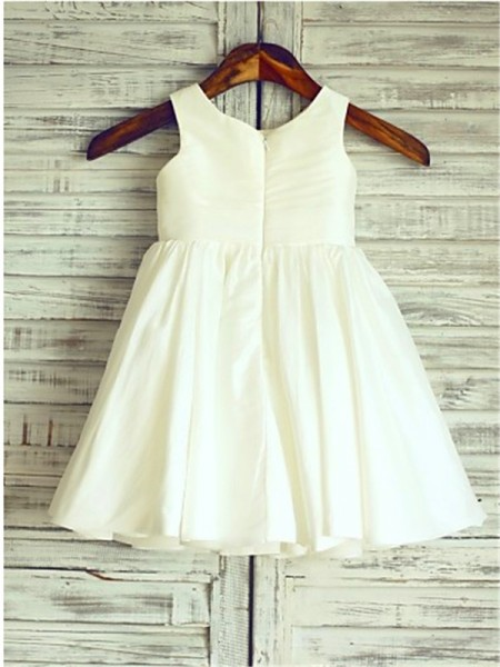 A-line/Princess Sleeveless Chiffon Tea-Length Hand-Made Flower Scoop Flower Girl Dresses