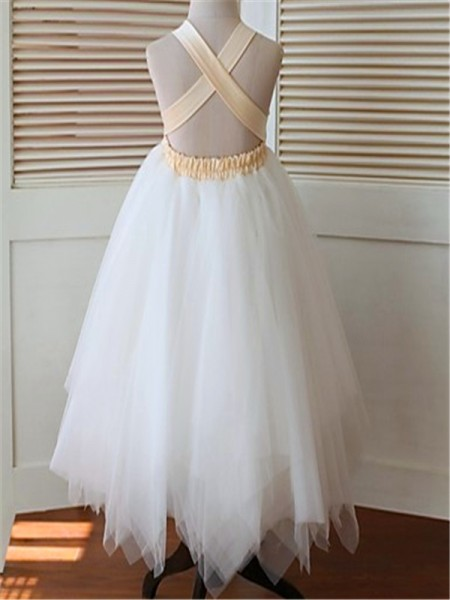 Ball Gown Tea-Length Hand-Made Flower Straps Sleeveless Tulle Flower Girl Dress