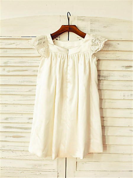 A-line/Princess Short Sleeves Chiffon Tea-Length Lace Scoop Flower Girl Dresses