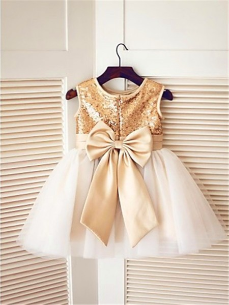 A-line/Princess Sleeveless Tulle Tea-Length Sequin Scoop Flower Girl Dresses