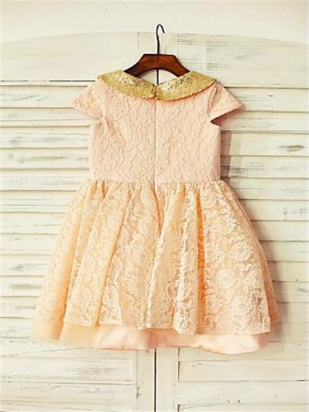 A-line/Princess Short Sleeves Lace Tea-Length Sequin Scoop Flower Girl Dresses