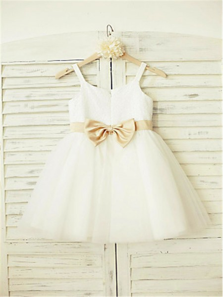 A-line/Princess Sleeveless Tulle Tea-Length Bowknot Spaghetti Straps Flower Girl Dresses