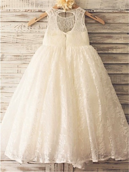 A-line/Princess Scoop Sleeveless Ankle-Length Lace Flower Girl Dresses