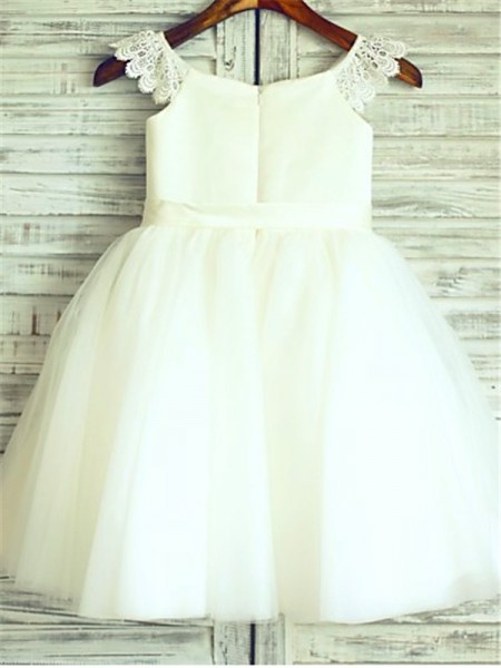 A-line/Princess Sleeveless Tulle Knee-Length Sash/Ribbon/Belt Scoop Flower Girl Dresses
