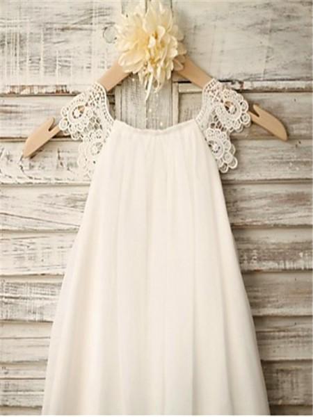 A-Line/Princess Tea-Length Lace Scoop Sleeveless Chiffon Flower Girl Dress