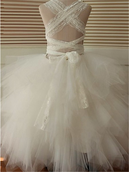 Ball Gown Sleeveless Organza Floor-Length Lace Scoop Flower Girl Dresses