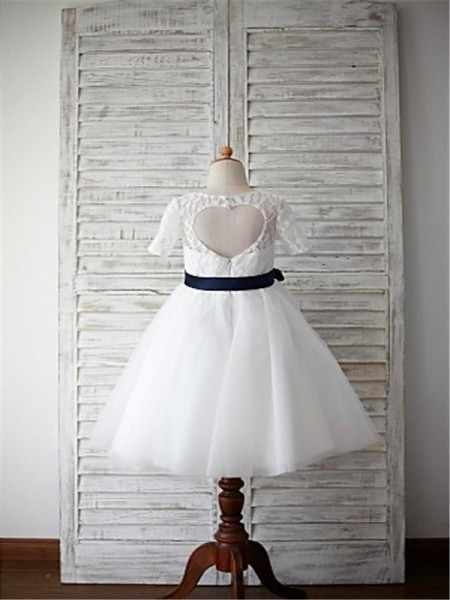 A-line/Princess 1/2 Sleeves Tulle Tea-Length Sash/Ribbon/Belt Scoop Flower Girl Dresses