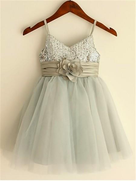 A-line/Princess Spaghetti Straps Sequin Tea-Length Tulle Flower Girl Dress
