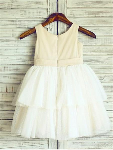 A-line/Princess Sleeveless Tulle Tea-Length Hand-Made Flower Straps Flower Girl Dresses