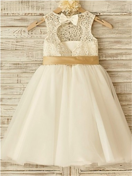 A-Line/Princess Knee-Length Bowknot Scoop Sleeveless Tulle Flower Girl Dress